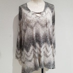 Fred David tunic sweater high low lace up 1X
